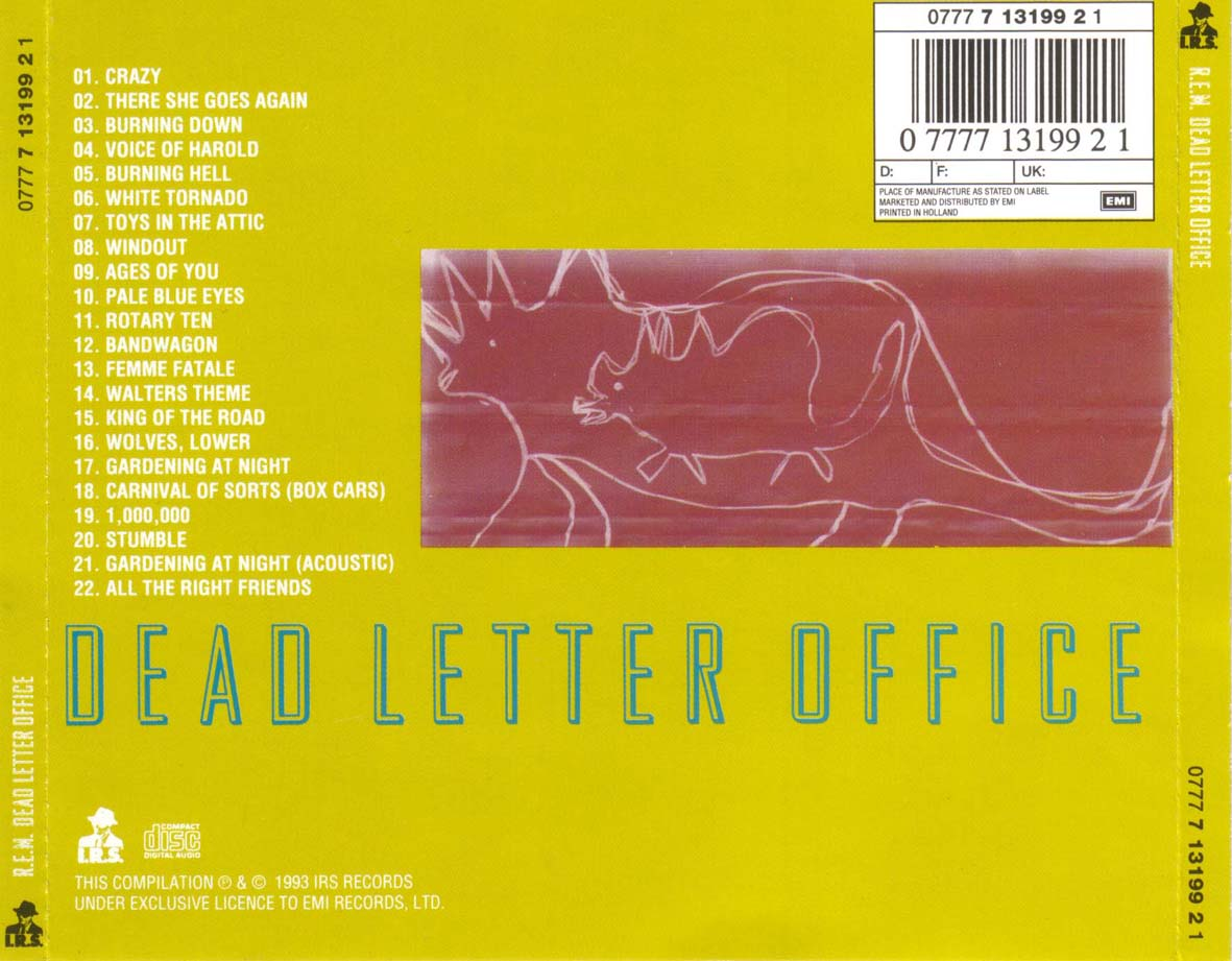 dead letter office index of caratulas r rem 21310 | Rem Dead Letter Office (Reedicion) Trasera