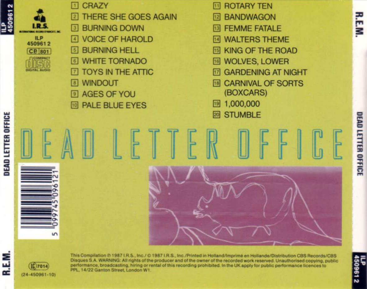 dead letter office index of caratulas r rem 21310 | rem dead letter office Trasera